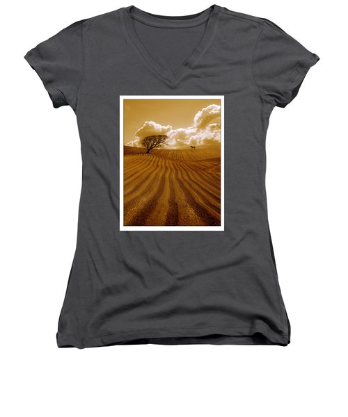 The Ploughed Field Women's V-Neck T-Shirt (Junior Cut) by Mal Bray