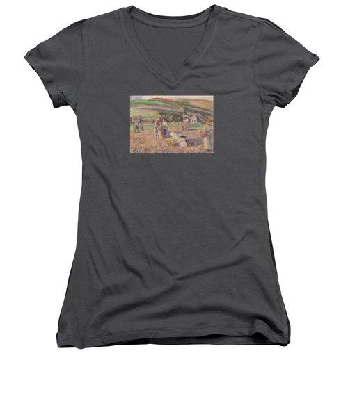 The Potato Harvest Women's V-Neck T-Shirt (Junior Cut) by Camille Pissarro