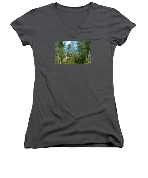 The Ring-necked Pheasant In Take-off Flight Women's V-Neck T-Shirt (Junior Cut) by Asbed Iskedjian