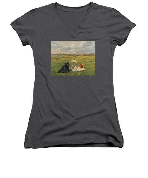 The Swallows Women's V-Neck T-Shirt (Junior Cut) by Edouard Manet