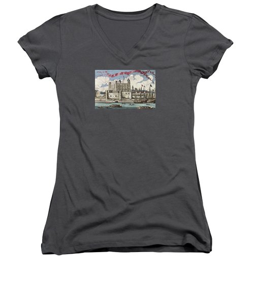 The Tower Of London Seen From The River Thames Women's V-Neck T-Shirt (Junior Cut) by English School