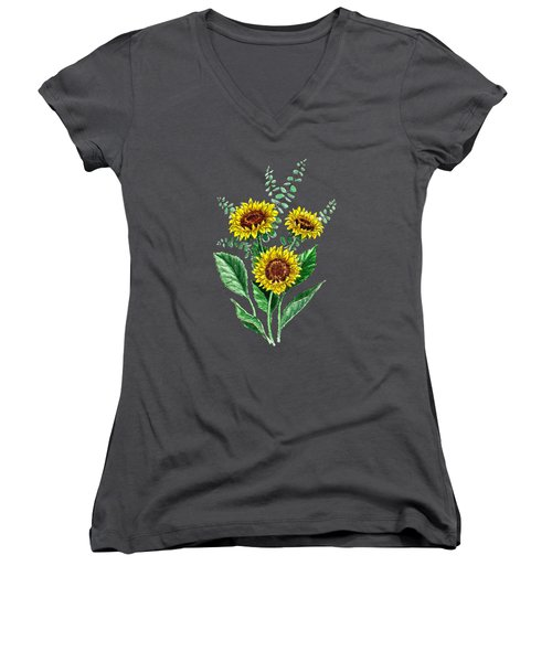 Three Playful Sunflowers Women's V-Neck T-Shirt (Junior Cut) by Irina Sztukowski