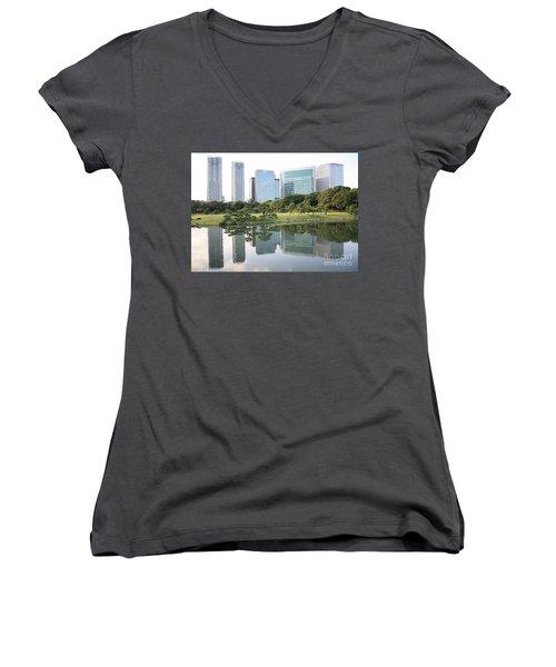 Tokyo Skyline Reflection Women's V-Neck T-Shirt (Junior Cut) by Carol Groenen