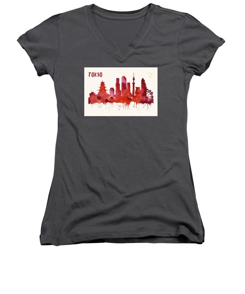 Tokyo Skyline Watercolor Poster - Cityscape Painting Artwork Women's V-Neck T-Shirt (Junior Cut) by Beautify My Walls