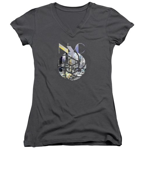 Trendy Design New York City Geometric Mix No 4 Women's V-Neck T-Shirt (Junior Cut) by Melanie Viola