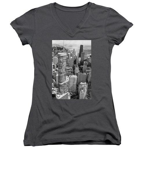 Trump Tower And John Hancock Aerial Black And White Women's V-Neck T-Shirt (Junior Cut) by Adam Romanowicz