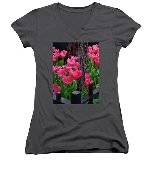 Tulips And Tree Women's V-Neck T-Shirt (Junior Cut) by Mike Nellums