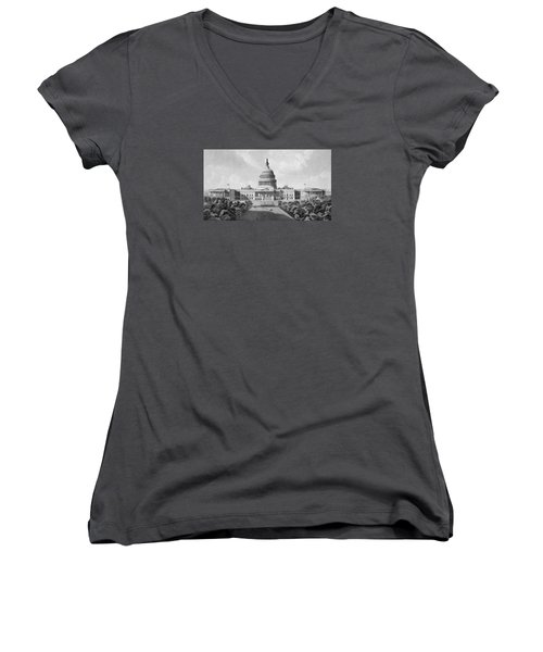 Us Capitol Building Women's V-Neck T-Shirt (Junior Cut) by War Is Hell Store