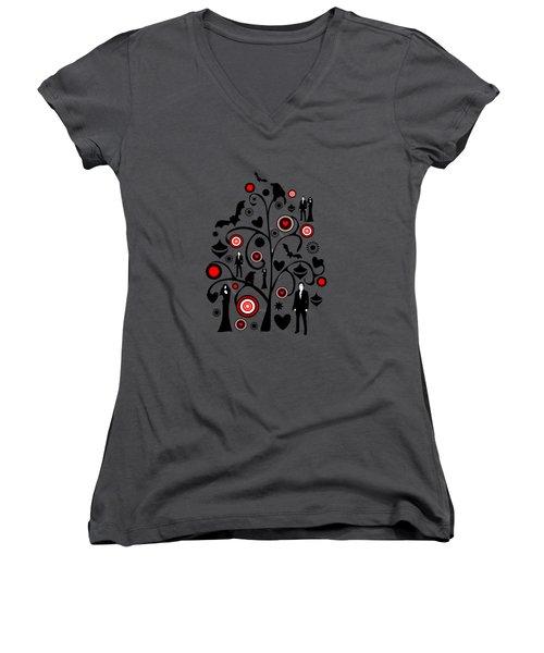 Vampire Art Women's V-Neck T-Shirt (Junior Cut) by Anastasiya Malakhova