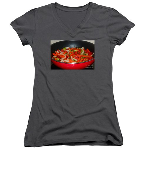Vegetable Stir Fry By Kaye Menner Women's V-Neck T-Shirt (Junior Cut) by Kaye Menner