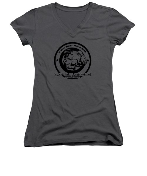 Venice Beach Arnold Muscle Women's V-Neck T-Shirt (Junior Cut) by Alex Soro