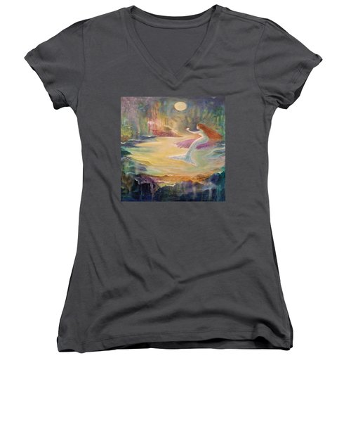 Vintage Mermaid Women's V-Neck T-Shirt (Junior Cut) by Lily Nava