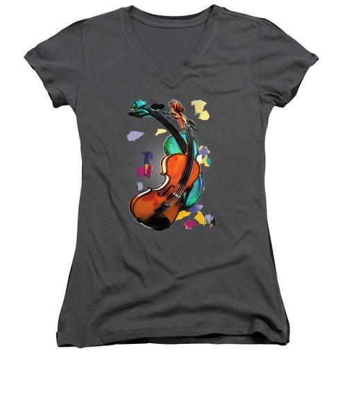 Violins Women's V-Neck T-Shirt (Junior Cut) by Melanie D