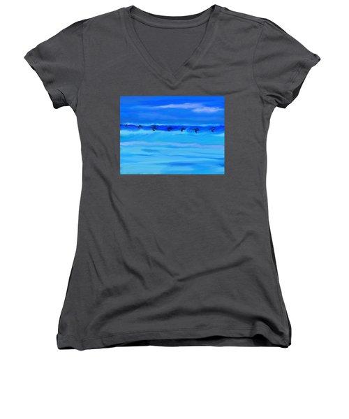 Vol De Pelicans Women's V-Neck T-Shirt (Junior Cut) by Aline Halle-Gilbert