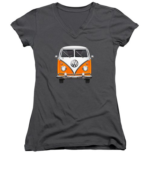 Volkswagen Type - Orange And White Volkswagen T 1 Samba Bus Over Blue Canvas Women's V-Neck T-Shirt (Junior Cut) by Serge Averbukh