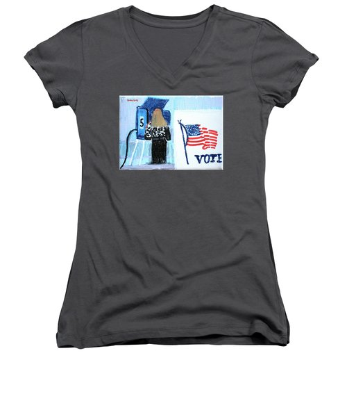 Voting Booth 2008 Women's V-Neck T-Shirt (Junior Cut) by Candace Lovely