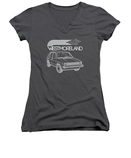 Vw Rabbit - Westmoreland Theme - Gray Women's V-Neck T-Shirt (Junior Cut) by Ed Jackson