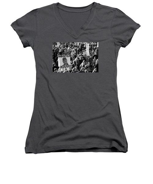 War Protesters  Women's V-Neck T-Shirt (Junior Cut) by Jim Corwin