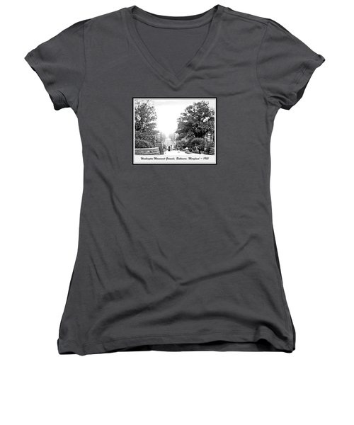Women's V-Neck T-Shirt (Junior Cut) featuring the photograph Washington Monument Grounds Baltimore 1900 Vintage Photograph by A Gurmankin