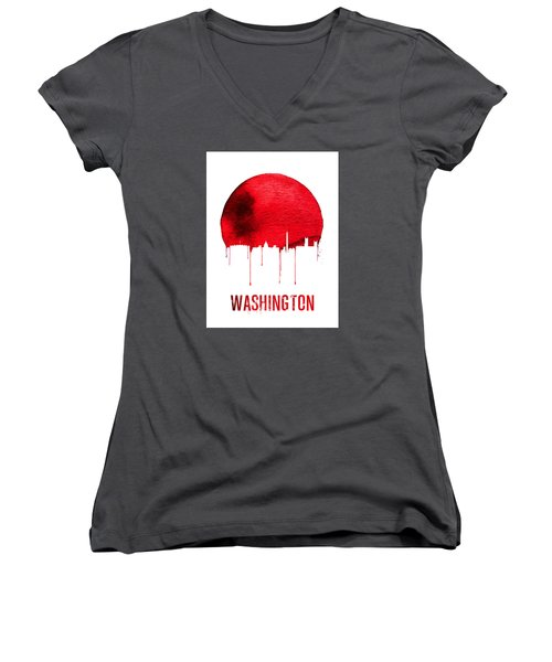Washington Skyline Red Women's V-Neck T-Shirt (Junior Cut) by Naxart Studio