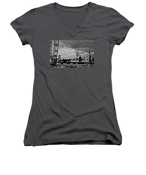 Westminster Black And White Women's V-Neck T-Shirt (Junior Cut) by Dawn OConnor