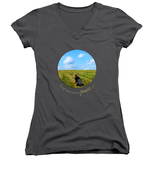 Where Did The Forest Go Women's V-Neck T-Shirt (Junior Cut) by Christina Rollo