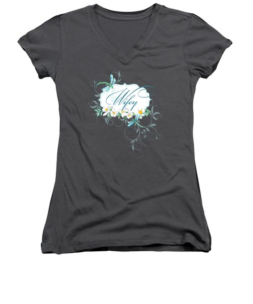 Wifey New Bride Dragonfly W Daisy Flowers N Swirls Women's V-Neck T-Shirt (Junior Cut) by Audrey Jeanne Roberts