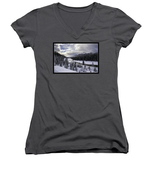 Winter In The Rockies Women's V-Neck T-Shirt (Junior Cut) by J and j Imagery