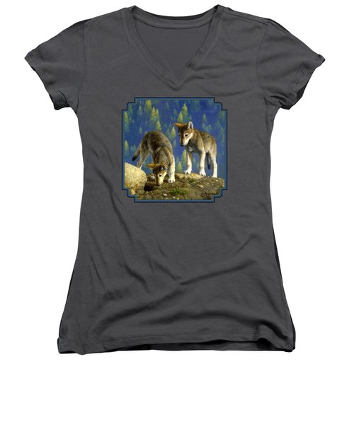 Wolf Pups - Anybody Home Women's V-Neck T-Shirt (Junior Cut) by Crista Forest