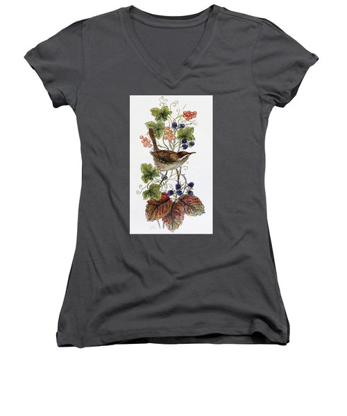 Wren On A Spray Of Berries Women's V-Neck T-Shirt (Junior Cut) by Nell Hill
