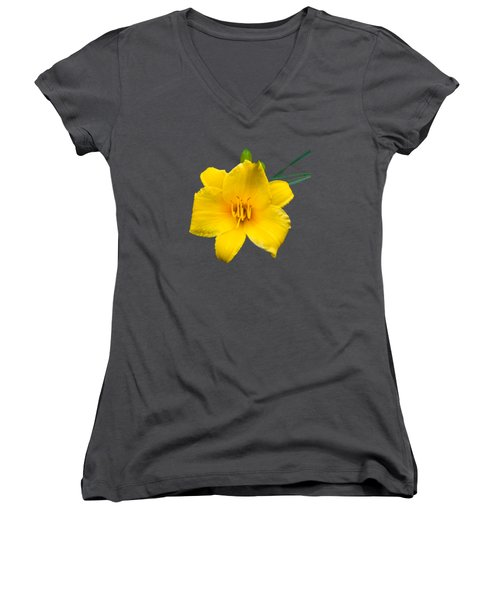 Yellow Daylily Flower Women's V-Neck T-Shirt (Junior Cut) by Christina Rollo