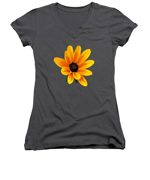 Yellow Flower Black-eyed Susan Women's V-Neck T-Shirt (Junior Cut) by Christina Rollo