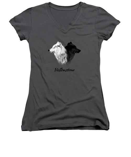 Yellowstone Wolves T-shirt Women's V-Neck T-Shirt (Junior Cut) by Max Waugh