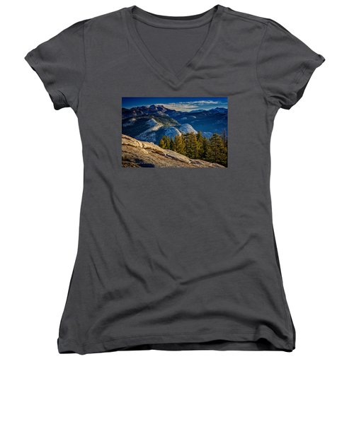 Yosemite Morning Women's V-Neck T-Shirt (Junior Cut) by Rick Berk