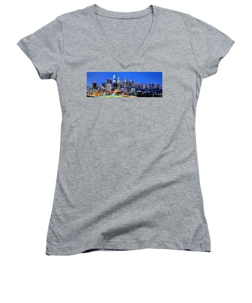 Philadelphia Skyline At Night Evening Panorama Women's V-Neck T-Shirt (Junior Cut) by Jon Holiday
