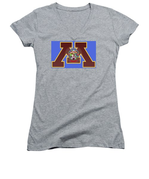 U Of M Minnesota State Flag Women's V-Neck T-Shirt (Junior Cut) by Daniel Hagerman