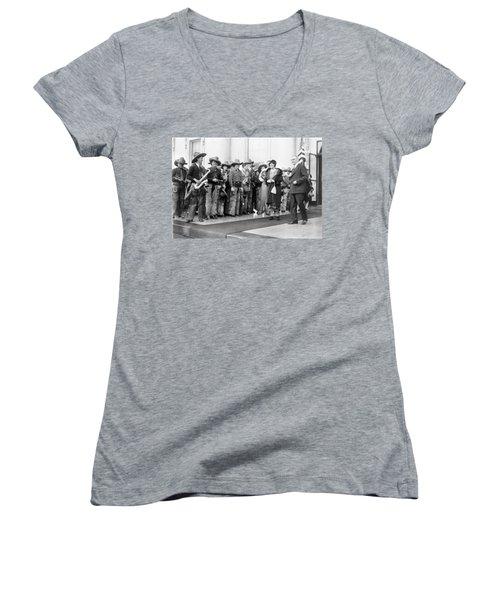 Cowboy Band, 1929 Women's V-Neck T-Shirt (Junior Cut) by Granger