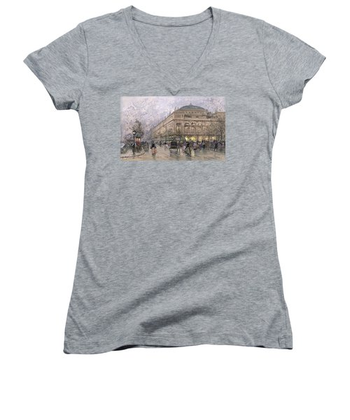 Parisian Street Scene Women's V-Neck T-Shirt (Junior Cut) by Eugene Galien-Laloue