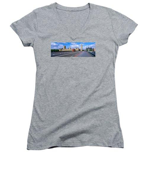 Parliament Big Ben London England Women's V-Neck T-Shirt (Junior Cut) by Panoramic Images