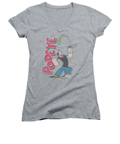Popeye - Spinach Power Women's V-Neck T-Shirt (Junior Cut) by Brand A