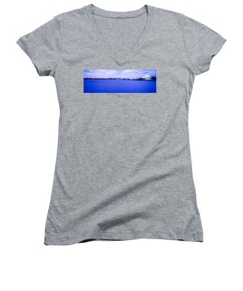 Tidal Basin Washington Dc Women's V-Neck T-Shirt (Junior Cut) by Panoramic Images
