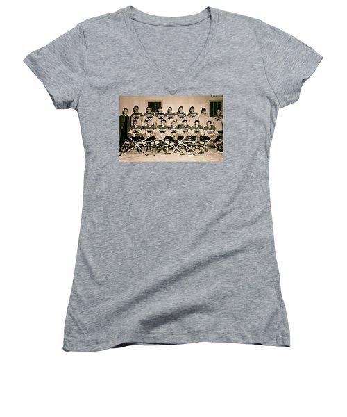 University Of Michigan Hockey Team 1947 Women's V-Neck T-Shirt (Junior Cut) by Mountain Dreams