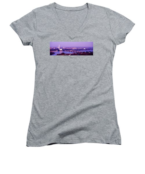 Washington Dc Women's V-Neck T-Shirt (Junior Cut) by Panoramic Images