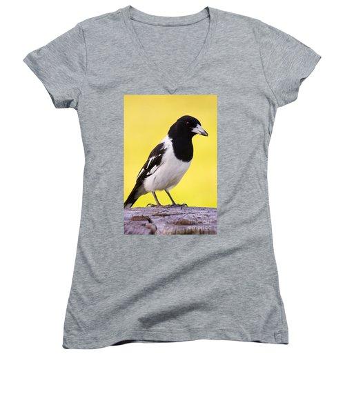 Fencepost Magpie Women's V-Neck T-Shirt (Junior Cut) by Jorgo Photography - Wall Art Gallery
