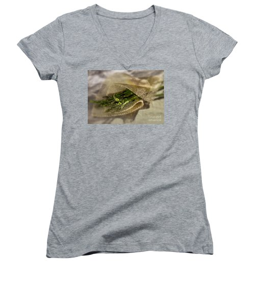 Green Asparagus On Burlab Women's V-Neck T-Shirt (Junior Cut) by Iris Richardson