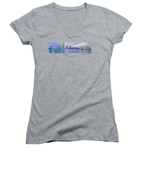 Miami 2004 Women's V-Neck T-Shirt (Junior Cut) by Patrick M Lynch