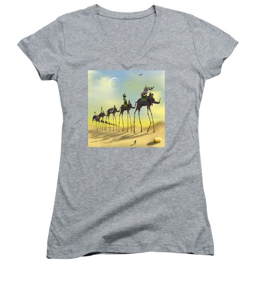 On The Move Women's V-Neck T-Shirt (Junior Cut) by Mike McGlothlen