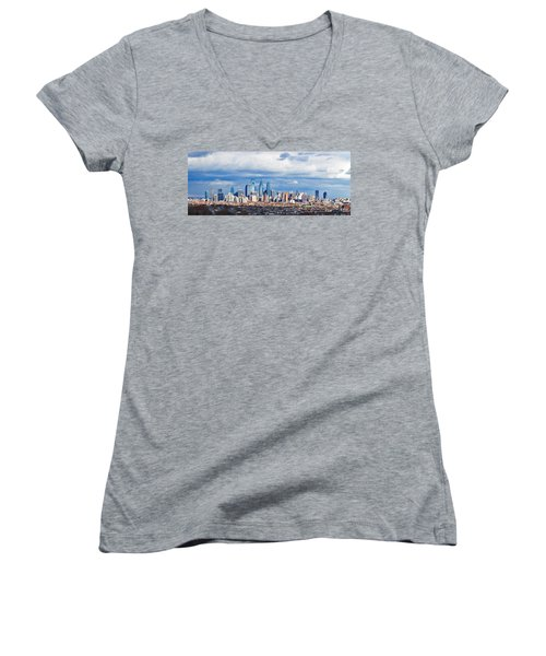Buildings In A City, Comcast Center Women's V-Neck T-Shirt (Junior Cut) by Panoramic Images