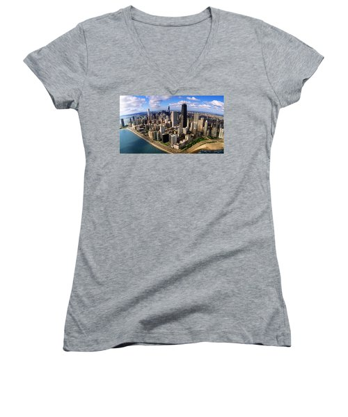 Chicago Il Women's V-Neck T-Shirt (Junior Cut) by Panoramic Images
