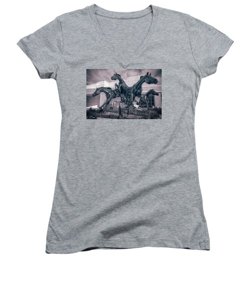 A Monument To Freedom II Women's V-Neck T-Shirt (Junior Cut) by Joan Carroll